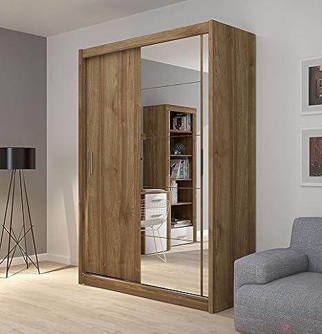 FADO mirrored 2 door wardrobe closet with sliding doors mirror shelves hanging clothes rail bedroom hallway furniture