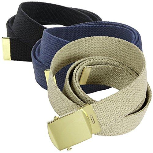 "3 Pack Casual Canvas Web Belt 52"" Adjustable Brass Buckle Blue Black Tan Set PK"