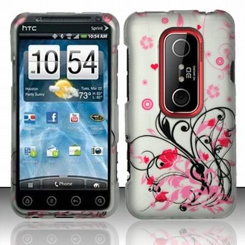 HTC EVO 3D Accessory - Blossoming Pink Flower Protective Hard Case Cover Design for Sprint 4G