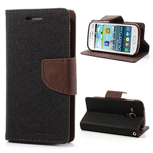 Mercury synthetic leather Wallet Magnet Design Flip Case Cover for Samsung Galaxy On5 G550FY- Black Brown