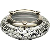 The Home Glass Ash Tray (18 Cm X 18 Cm X 6 Cm, Silver And Black)