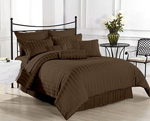 500-fils-1-lit-Jupe--rayures-Chocolat-Extra-poche-profonde-100-coton-gyptien-King-Size-30-AS1