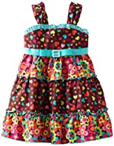 Youngland Girls 2-6X All Over Dot Sundress, Brown/Multi, 2T