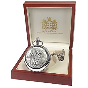 Boy's Christening Gift, Engraved St Christopher Mother of Pearl Face Pocket Watch in a Wood Gift Box