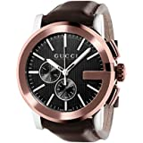 Gucci G- Chrono Collection Men's Quartz Watch with Black Dial Chronograph Display and Brown Leather Strap YA101202