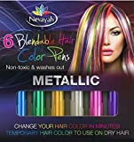 Nevayah Hair Chalk Temporary Hair Multicolor Dye Pens, Purple / Sapphire Blue / Pink / Gold / Silver / Green (6 Pens) Silver and Green Rainbow Colors Last Up to 3 Days with Built In Sealant. Works on All Hair Colors. Great for Tinting Eyebrows
