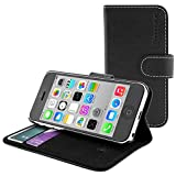 Snugg® iPhone 5c Case - Leather Flip Case with Lifetime Guarantee (Black) for Apple iPhone 5c
