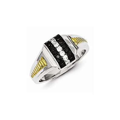 Sterling Silver and Gold Plated Black and White Diamond Men's Ring