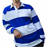 Front Row Sewn Stripe Long Sleeve Rugby Shirt, White/Royal, Small