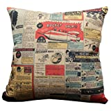 Nostalgic Retro Rocket Ship Throw Pillow Case Decor Cushion Covers Square 18*18 Inch Beige Cotton Blend Linen