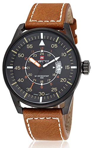 Voeons-Mens-Watches-Luminous-Hands-Auto-Date-Brown-Leather-Strap-Watch