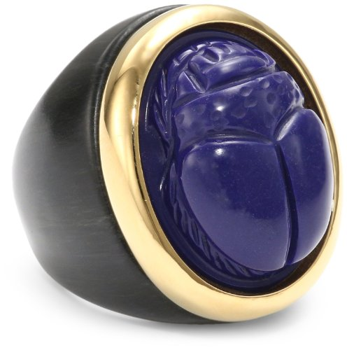 KARA by Kara Ross Ebony Resin and Gold with Lapis Small Resin Scarab Ring, Size 7