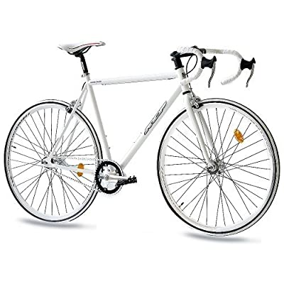 "28"" KCP FIXIE ROAD RACING BIKE FG-1 ROAD FIXED GEAR SINGLE SPEED white 56cm (28 Inch) from KCP"