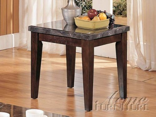Cheap End Table with Marble Top in Espresso Finish (VF_AM7143)
