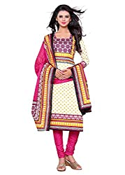 Woman's Pink Cotton Printed Dress Materials