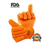 #1 Best Heat Resistant Silicone Insulated Rubber BBQ Gloves With 5 Finger Grip-Replace Potholders-Oven Mitts-Outdoor Grilling and Cooking. Use Gloves In Kitchen-Grill-Smoking Meats-Pulling Pork-Handling Hot Chicken. Add To BBQ Accessories And Tools