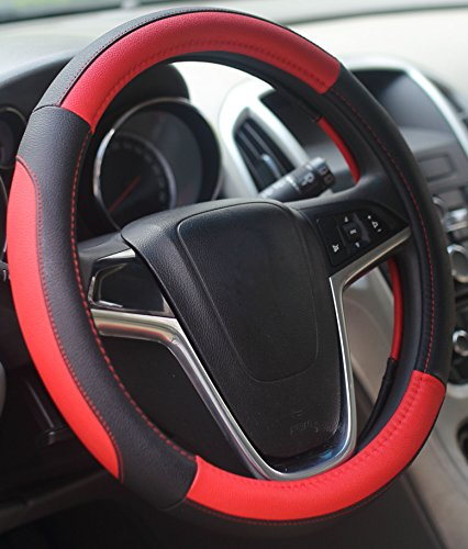 Mayco Bell Car Steering Wheel Cover 15 inch Comfort Durability Safety (Black Red) (Leather Red Steering Wheel Cover compare prices)