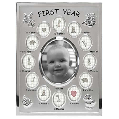 Malden International Designs Baby's First Year Collage Picture Frame, 13 Option, 1-3.5x4, 12-1x1, Silver (Silver Baby Frame compare prices)