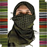 Mato & Hash Military Shemagh Tactical 100% Cotton Scarf Head Wrap - White/Black