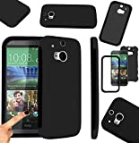 Magic Global Gadgets - Black Front & Back Full Body Protector Hard Armour Hybrid Shock Proof Case Cover For HTC One 2 / HTC One M8 With Built In Screen Protector & Mini Stylus Pen
