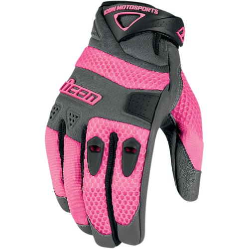 Icon Anthem Women's Leather/Mesh Streetbike Motorcycle Gloves - Pink / Large