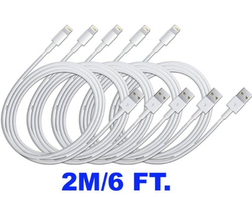 2020Products 5x iPhone 5s/5c/5 extra long 6.3ft 8 Pin to USB Charger Cable for iPhone 5 iPod Touch 5th Nano 7th Gen