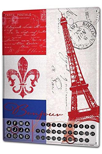 leotie Dauer Wand Kalender Fernweh Stadt Paris Metall Magnet