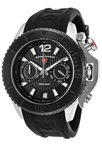 Swiss Legend Men's 'Scorpion' Quartz Stainless Steel and Silicone Watch, Color:Black (Model: 14018SM-01-BB)