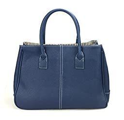 Hoxis Classical Office Lady Minimalist Pebbled Faux Leather Handbag Tote/ Magnetic Snap Purse(Navy)