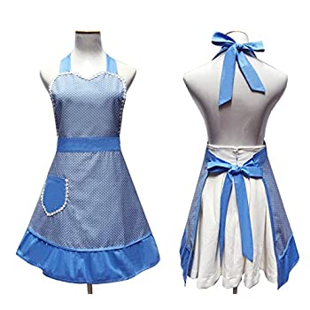 Cute White Dot Women Aprons Fashion for Girls Vintage Home Cooking Retro Beautiful Apron for Gift, Blue
