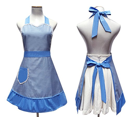Cute White Dot Women Aprons Fashion for Girls Vintage Home Cooking Retro Beautiful Apron for Gift, Blue 0