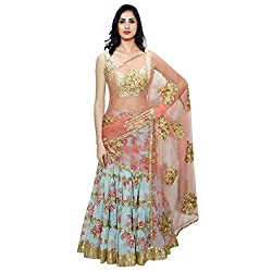 Cozer Women's Bhagalpuri Silk Semi Stitched Lehenga Choli (fogg2_Multicolor)