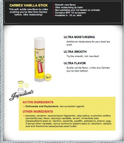 Carmex Vanilla SPF15 Moisturizing Lip Balm .15 OZ (Pack of 6)