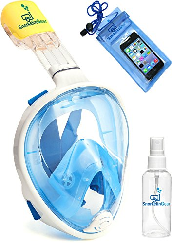 SnorkelinGear Snorkel Mask Set for Adults and Children, Full Face Easybreath Snorkeling Gear with 180 Sea View including Universal Waterproof Case and Anti Fog Spray (Blue, S/M) (Snuba Gear compare prices)
