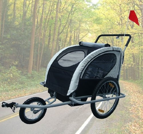 Frugah New 2in1 Double Child Baby Bike Trailer Kids Bicycle Stroller Black with Hand Brake