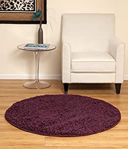 Carnival Soft Touch Round/Circle 120diameter Shaggy Rug (AUBERGINE) by Home Solutions