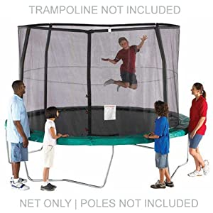 Power TrampolineTM 14 ft Trampoline Replacement Net for Orbounder (sold at Walmart) G4, Jumpking, Jumpod using 4 Straight Curved Poles using a Topring