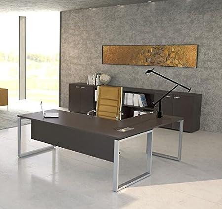 Office&co Scrivania Versus con allungo laterale in Melaminico (Wenge')