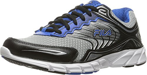 Fila Men's Memory Maranello 4 Running Shoe, Metallic Silver/Black/Prince Blue, 12 M US