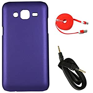 FCS Rubberised Hard Back Case For Samsung Galaxy On7 With 3.5mm Wide Strip 1 Meter AUX Cable And Wide Strip 2 Meter Data Cable