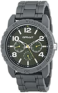 Sprout Men's ST/7008GNGY Gray Corn Resin and Green Tree Bark Watch