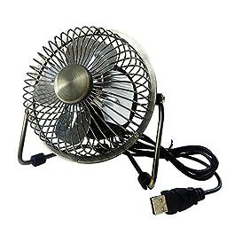 Edicating USB Desk Fan (Powerful Airflow) - Electrocoppering Metal Archaistic Fan - Personal Mini Fan - Small Table Fan, Great for Desktop Tabletop Office & Travel, Bronze Color