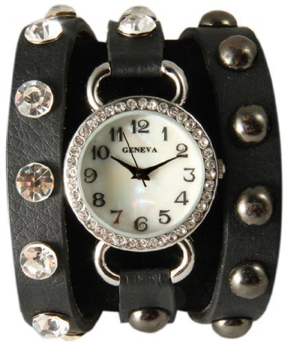 Black Wrap Around Watch with Bling Sparkly White Rhinestones and Studs.