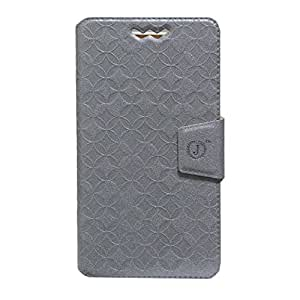Jo Jo Cover Aarav Series Leather Pouch Flip Case With Silicon Holder For Huawei Ascend G620s Silver