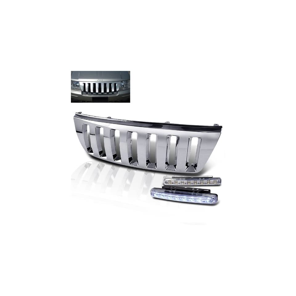 Eautolight 1999 2004 Jeep Grand Cherokee Chrome Front Grill Grille + 8 Led Bumper Fog