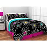 Black, Hot Pink, Aqua Twin Xl Comforter, Shams, Sheet Set, Bedskirt and Home Style Exclusive Sleep Mask (7 Piece Bedding Bundle)