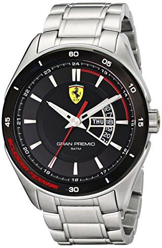 Los hombres de la Ferrari 0830189 de la exhibición en el Gran Premio de cuarzo analógico reloj de plata