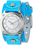 Nemesis Women's AVT066K Roman Numeral Collection Silver Aqua Leather Band Watch