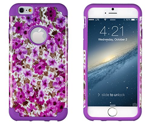 "Iphone 6, Dandycase 2In1 Hybrid High Impact Hard Lavender Garden Floral Pattern + Purple Silicone Case Cover For Apple Iphone 6 (4.7"" Screen) + Dandycase Screen Cleaner"