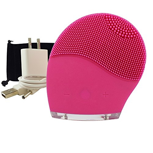 DermaDream Silicone Sonic Facial Brush - Bonus Travel Case & Exclusive Wall Charger - Perfect for Exfoliation, Brightening, Deep Cleansing, & Microdermabrasion